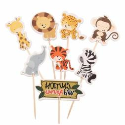 24pcs Safari Jungle Animal Cupcake Toppers Picks Birthday Pa