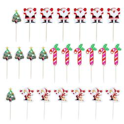 24pcs Santa Claus Christmas Cake Cupcake Topper Food Picks X