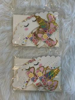 24Pcs/Set Unicorn Cupcake Toppers Wrappers Double Sided Part