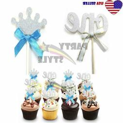 24pcs Silver Glitter Cupcake Toppers Blue Bow For Boy Baby 1