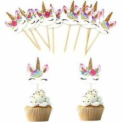24Pcs Unicorn Cartoon Cupcake Toppers Cake Insert Pick Birth