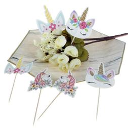 24pcs Unicorn Cupcake Toppers DIY Cake Picks Wedding Birthda
