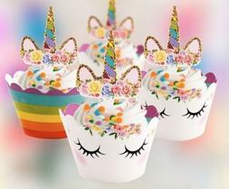 24PCS Unicorn Cupcake Toppers Wrapper Rainbow Baby Shower Ki