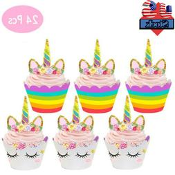 24pcs unicorn cupcake toppers wrapper rainbow baby