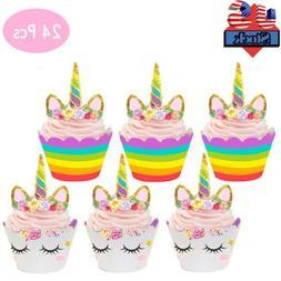 24PCS Unicorn Cupcake Toppers Wrapper Rainbow Baby Shower Ki