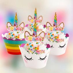 24PCS Unicorn Cupcake Toppers Wrappers Rainbow Baby Shower K