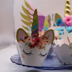 MEIDDING 24Pcs Unicorn Party <font><b>Kit</b></font> Rainbow