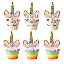 24Pcs Unicorn Rainbow Cake Toppers Cupcake Wrappers Birthday