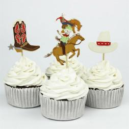 24pcs west cowboy cupcake topper birthday party cake decor s