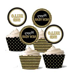 24Sets 2020 New Year's Eve Party Cupcake Toppers Wrappers Ca