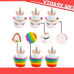 24sets Baby Shower Rainbow Unicorn Cupcake Cake Wrappers Top