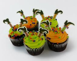 24x EDIBLE Mini Witch Legs Halloween Stand up Wafer Cupcake
