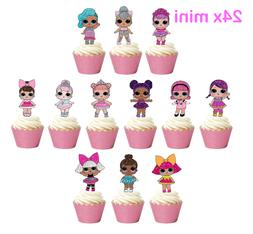 24x Mini LOL Dolls Stand up Edible Wafer Cupcake Toppers Dec
