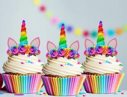 12x Rainbow Unicorn Horn and Bright Flowers Edible Cupcake T