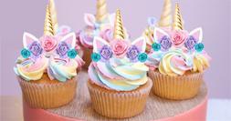 24x Mini Unicorn Gold Horn Pink Lilac Blue Rose Edible Cupca
