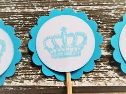 25 Blue Crown Cupcake Toppers Wedding Anniversary Bridal Sho