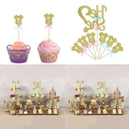 25 pack glitter gender reveal cupcake toppers