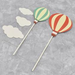 25Pcs Hot Air Balloon Cloud Cake Topper Plug Cupcake Paper S