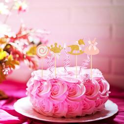 27 pcs pink princess themed cupcake toppers