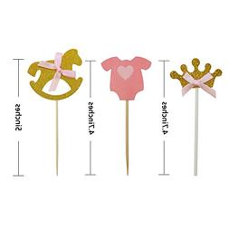 27pcs Pink and Gold Girl Baby Shower Cupcake Toppers Picks,