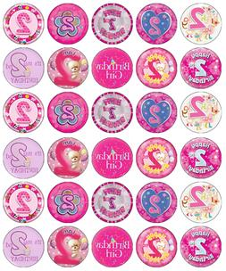 2nd birthday girl x 30 cupcake toppers
