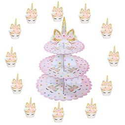 3 tier unicorn cake stand cupcake toppers