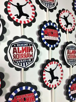 30 American Ninja Warrior Dimensional Party Cupcake Toppers