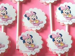 """30 BABY MINNIE MOUSE """"IT'S A GIRL"""" Cupcake Toppers Party Fav"""