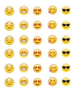30 Emoji Faces Cupcake Toppers Edible Wafer Paper 1.5 inch r