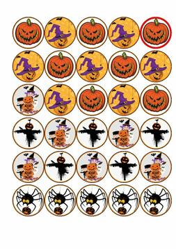 30  Halloween  rice paper edible cup cake toppers.