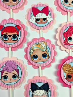 30 LOL Dolls Dimensional Party Cupcake Toppers *Ready to Shi