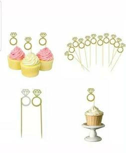30 Pack Cupcake Toppers GOLD Glitter Mini Diamond Ring Cakes