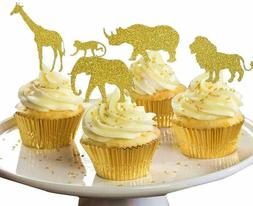 30 Pack GOLD Glitter Jungle Safari Animal Cake Cupcake Toppe