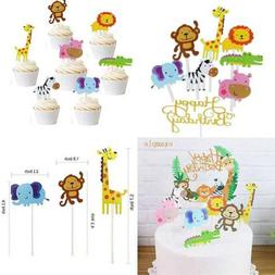 Jatidne 30 Pack Zoo Animal Cupcake Toppers Safari/Jungle The