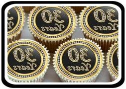 30 X GOLD 30TH BIRTHDAY ANNIVERSARY  EDIBLE CUPCAKE TOPPERS