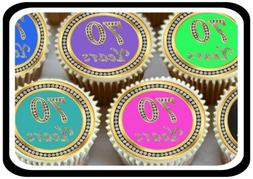 30 x MIXED 70TH BIRTHDAY ANNIVERSARY  EDIBLE CUPCAKE TOPPERS