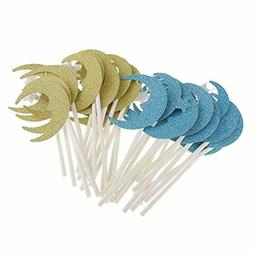 30pcs cupcake toppers glitter paper moon star