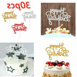 30PCS Glitter Happy Birthday Cake Topper Cupcake Dessert Dec