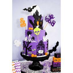 30pcs Halloween Cupcake Toppers Pumpkin Bat Ghost Skull Food
