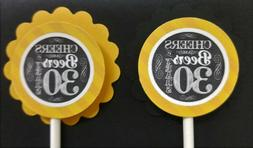 30th birthday cupcake toppers set of 24