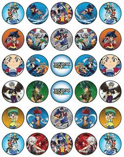 30x beyblade  Edible Cupcake Toppers 35mm Collection of Deco