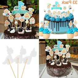 33 Pack Little Baby It's A Boy BLUE Cupcake Toppers For Show