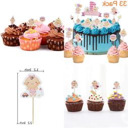 33 Pack Little Baby It's A Girl PINK Cupcake Toppers For Sho