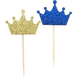 36-Pack Blue and Gold Crown Cupcake Toppers Picks, Royal Pri