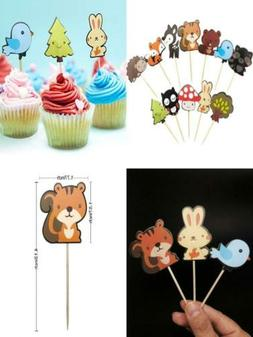 36-pack Cute Woodland Creatures Cupcake Toppers Picks, Woodl