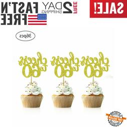 36 PCS Cheers To 60 Cupcake Toppers GOLD Glitter 60Th Birthd