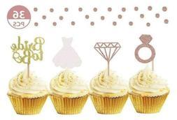 36 Pcs Diamond Ring Dress Cupcake Toppers Wedding Engagement