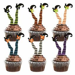 Donoter 36 Pcs Witch'S Boot Cupcake Toppers Halloween Cupcak