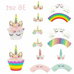 36pcs Unicorn Cupcake Toppers and Wrappers Kids Birthday Par