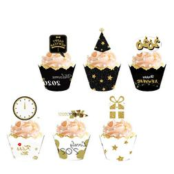 36Sets 2020 New Year's Eve Party Cupcake Toppers Wrappers Ca